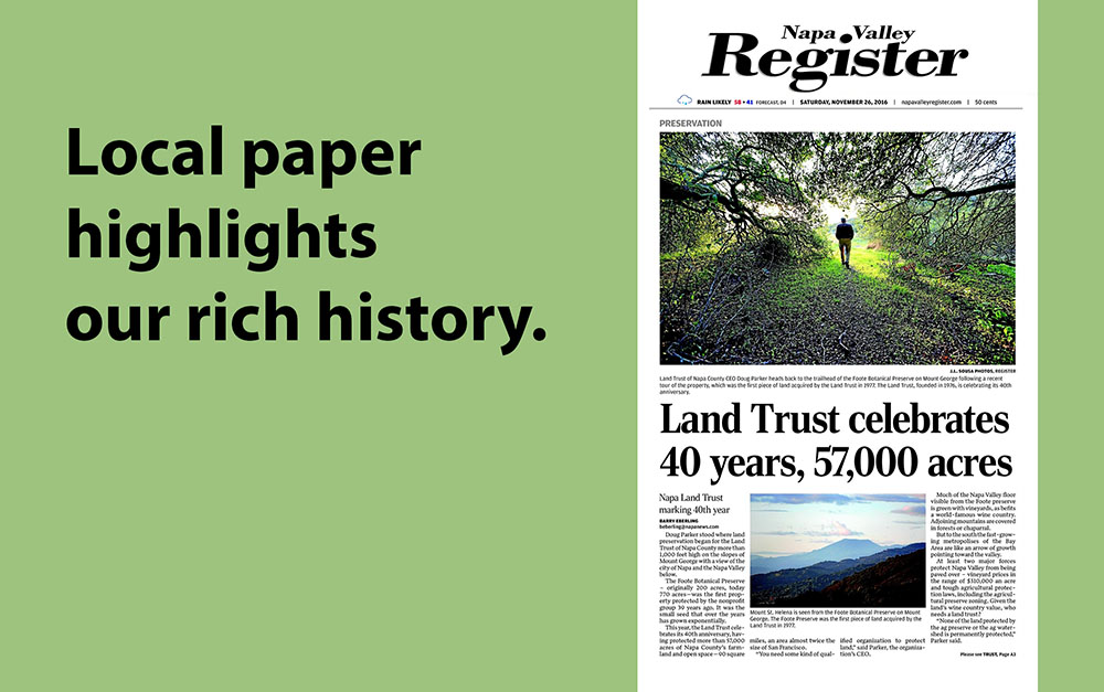 Napa Valley Register Highlights Land Trust history