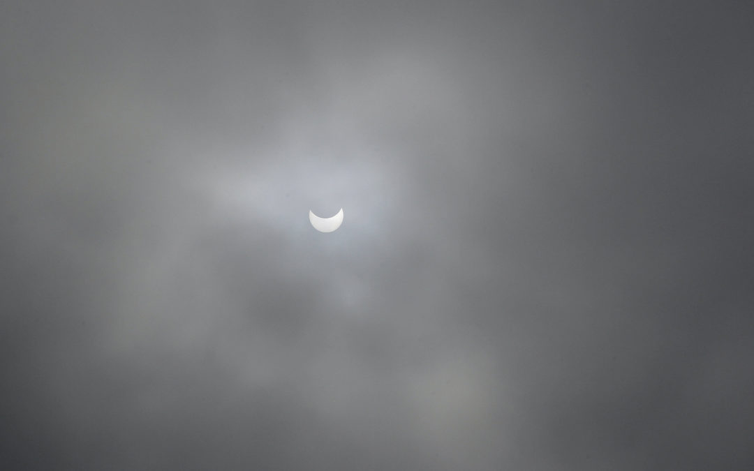 The solar eclipse as seen from the Foote Preserve on Mt. George
